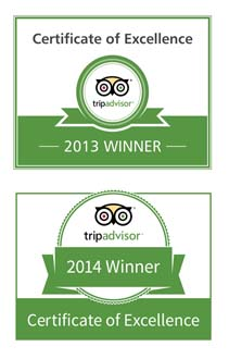 Trip Advisor Certificate of Excellence 2013 and 2014